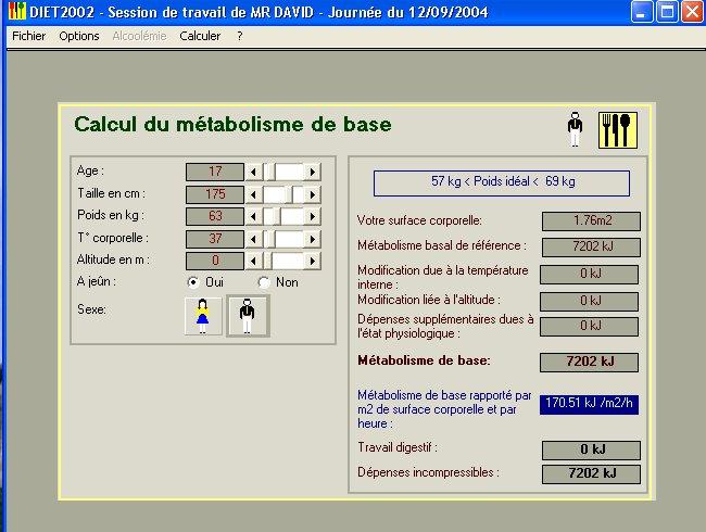 metabolism bazal calcul